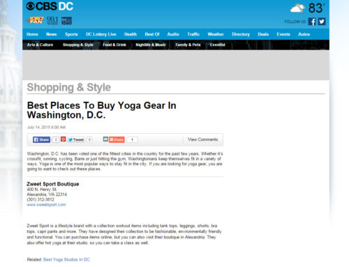 CBS DC – Best Places To Buy Yoga Gear in D.C.
